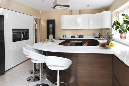 Walnut Veneer High Gloss Bespoke Fitted Kitchen