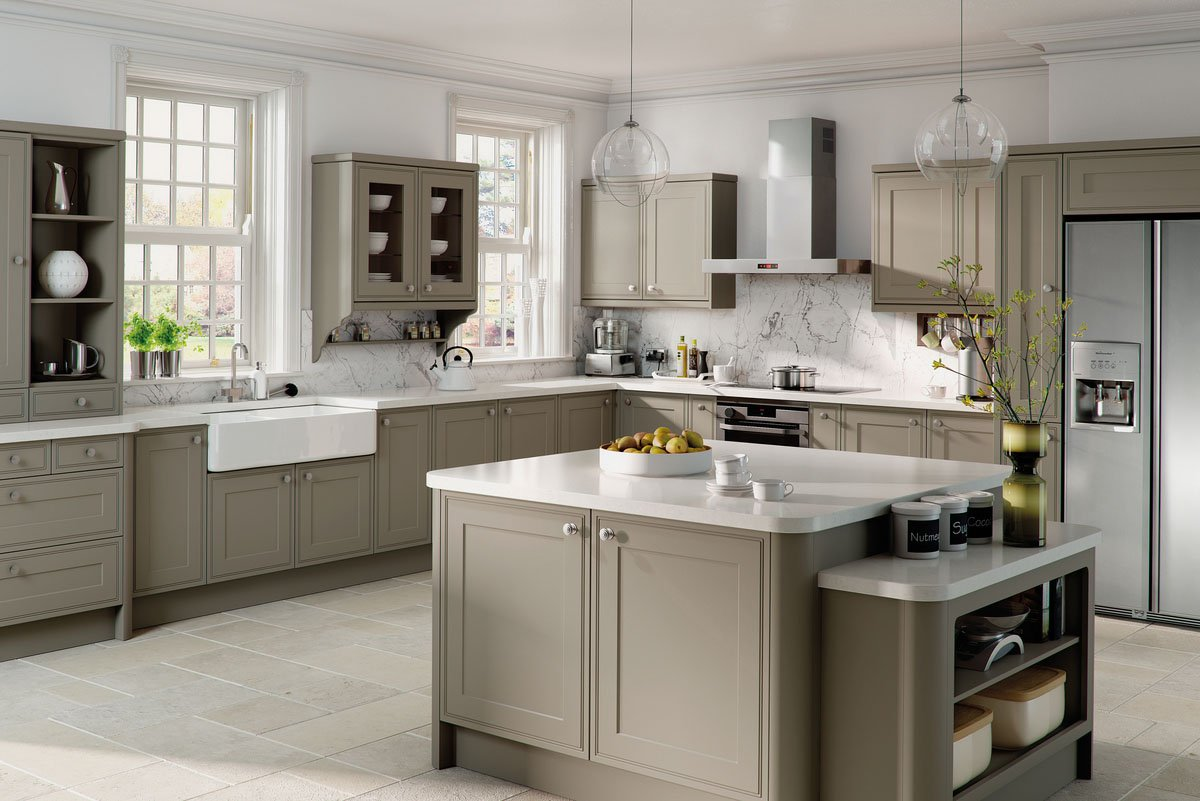 Matt Stone Grey Tullymore Bespoke Fitted Kitchens - Grey fitted kitchens