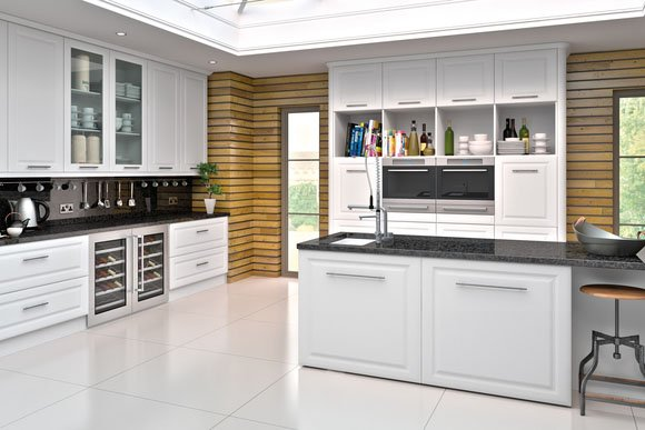 Satin White York Bespoke Fitted Kitchens