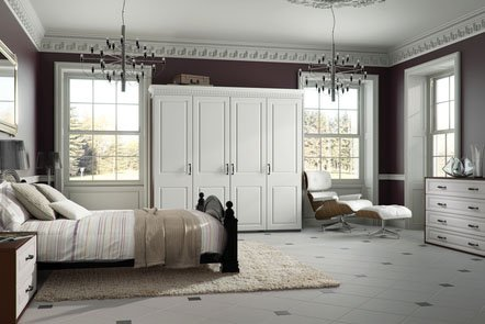York Satin White Bespoke Fitted Bedrooms
