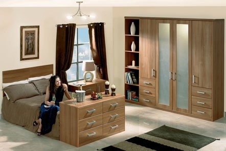 Rimini Light Walnut Bespoke Fitted Bedrooms