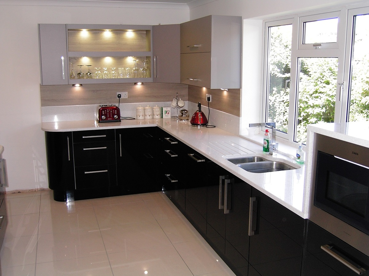 Black Zurfiz Acrylic With White Glitter Stone Quartz Bespoke Fitted Kitchen