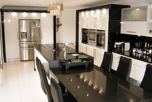 High Gloss White Acrylic with Black Granite