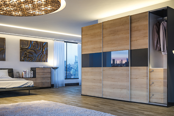Glidor Halifax Natural Oak Ultragloss Black Ultra B Bedroom Sliding Door Wardrobes